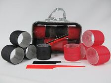 8 HUGE XXL JUMBO CURL CLING HAIR ROLLERS SET 72mm Backcombing Comb & Case