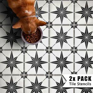 2x Star Tile Stencils - Bathroom Kitchen Wall Floor Tiles & Patio Slab - Zarzis