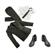 1/6 Black Jacket Shirt Pants Suit Shoes for 12'' Gentleman Figure Hot Toys