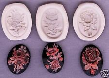 Lot of 3 Flower Bouquet cameo, Polymer Clay Push Molds