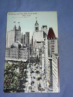 VINTAGE 1912 BROADWAY & CITY HALL PARK SOUTH   NEW YORK   POSTCARD