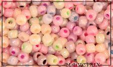 M764) LOT  de 100 Perles de Rocaille Verre Pastels Multicolores Ø 4 mm