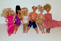 Lot of 6 Dolls (5) 1966 Mattel Barbie & (1) 1968 Ken Doll Taiwan Indonesia......