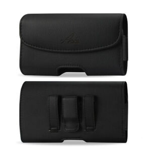Agoz Leather Sideways Belt Clip Case Cell Phone Holster Pouch for Samsung Phones
