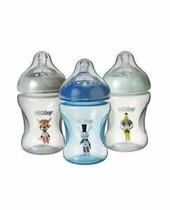 3x Nuby Baby Feeding Bottles Decorated Combat Colic Bottle / 3 Pack Deal / 240ml