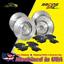 UM Front & Rear Drilled Slotted Brake Rotor & Ceramic Pad For Cobalt Malibu Aura