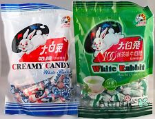 SET OF 2 BAGS White Rabbit Creamy Milk and Green Tea Matcha Chewy Candy 32pcs ea