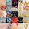Women Vintage 18K Yellow Gold Filled Hollow Hoop Dangle Earrings Wedding Jewelry