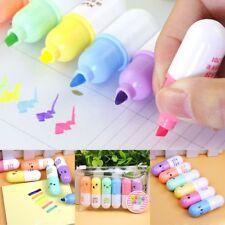 6Pcs/set Pastel Mini Pill Shaped Highlighter Pens Smile Face Graffiti Marker Pen