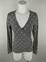 Ann Taylor LOFT Women M Black Rayon Spandex Wrap Floral Long Sleeve Blouse Top