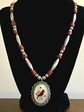Vintage Zuni Sterling Silver Bench Beads Coral Turquoise MOP Pendant Necklace