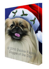 Christmas Pekingese Dog Holiday Portrait with Santa Hat Canvas Wall Art