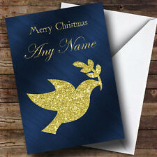Blue & Gold Peace Dove Personalised Christmas Card