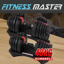 48kg Adjustable Dumbbell Set Home Gym Exercise Equipment Weight 2x24kg