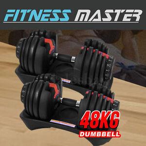 48kg Adjustable Dumbbell Set Home GYM Exercise Equipment Weight 2x24kg