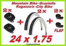2 x Neumáticos + 2 Cámaras de aire + 2 SOLAPA GRAZIELLA / MTB 24 1.75 SLICK