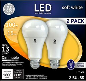 GE Dimmable LED Light Bulbs A21 General Purpose 100 Watt Replacement LED Light