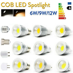 Wholesale MR16 GU10 E27 E14 Dimmable 6W/9W/12W LED COB Spot Lights Bulbs Lamps