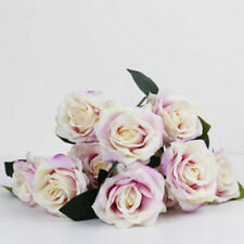 10 Heads Silk Rose Artificial Flowers Fake Bouquet Buch Wedding Home Party Decor