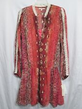Hollywould Womens L 100% Poly Sheer Lined Orange Snakeskin Print Tunic BlouseNWT