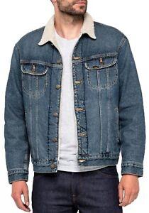 LEE Rider Mens Sherpa Fur Collar Denim Jacket Warm Winter Jean Coat Vintage Worn