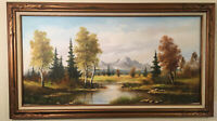 "Antique/ Vintage Large Oil Painting Signed AUG. Tracy 48""x24"" Donovan's Auction"
