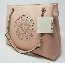 Anne Klein Perf Chain Lion Womens Blush Pink Tote Purse Handbag