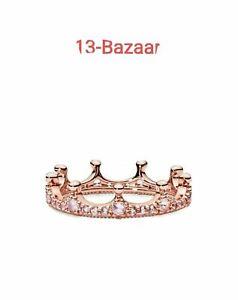 Genuine Pandora Enchanted Pink Sparkling Crown CZ  Rose Gold Ring 187087NPO UK