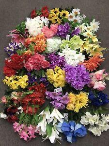 12x Artificial Flowers Bunches Mix Joblot Silk Spray Grave Posy Spring Sale Bush