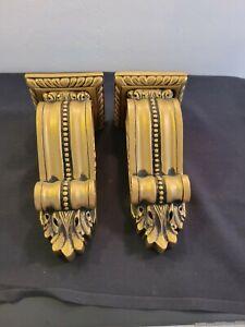 2 Ornate Resin Wood Drapery Corbel Rod Holders Shelves Brushed Gold