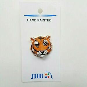 JHB Vtg Save the Tiger Shank Button 27mm Novelty 3D Hand Painted Sewing Crafts