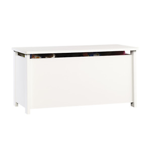 Sauder Beginnings Hinged Safety Top Wooden Toy Chest/Bench, Soft White Finish