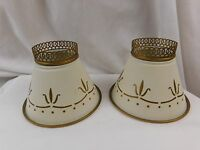 "Vintage Pair Tole Painted Metal Lamp Shades 4 1/2"" x 6 1/8"" Stenciled Folk Art"