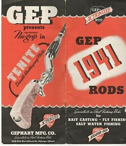 RARE GEP 1941 ARMOR-OID RODS BAIT FLY SALT BROCHURE ART DECO ILLUSTRATIONS COOL