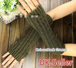 Girls Ladies Knitted Fingerless Gloves Mitten Arm Warmers GLVS-L-03
