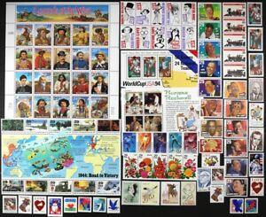 US 1994 Commemorative Year Set 106 stamps with S/S & Sheets Mint NH see scans