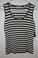 New Valerie Stevens Women's Size 10 Tank Top Striped Silk Blend Black & White
