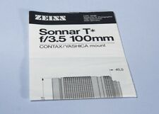 Carl Zeiss Sonnar T* 100mm f/3.5 Lens Instructions * Contax / Yashica
