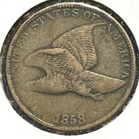 1858 1C Flying Eagle Cent, Large Letters (56798)