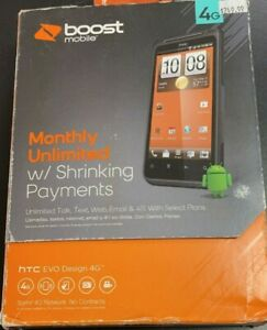 HTC EVO Design 4G - 4GB - Black (Boost Mobile) Smartphone - Brand New