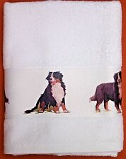 More details for bernese mountain dog large hand/guest cotton towel watercolour print sandra coen