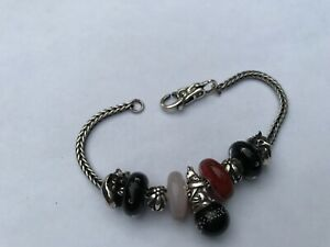 Trollbeads sterling bracelet and charms with multi glass beads