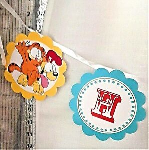 Garfield and Odie Happy Birthday Banner 5 inches high x 8 feet long