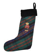 Polo Ralph Lauren Plaid Embroidered Bear Christmas Holiday Stocking New