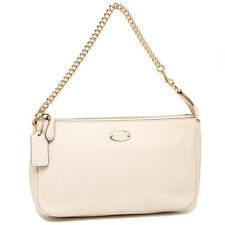 NWT $150 Coach Large Wristlet 19 in Pebble Leather, Chalk / Gold Chain, F53340