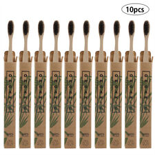 10PCS Bamboo Toothbrush Biodegradable Natural Wooden Eco Medium Soft Bristles