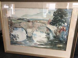 "Large Original Watercolour ""The Old Pack Horse Bridge"" Kirkcowan R. C. Wood 1976"
