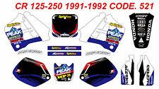 521 CR 125 1991-1992 CR 250 90-91 Autocollants Déco Graphics Decals Stickers Kit