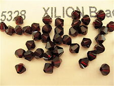24 Garnet Swarovski Crystal Beads Bicone 5328 4mm