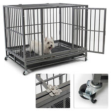 "42"" Dog Crate Kennel Heavy Duty Pet Cage Playpen with Tray Pan + Wheels Silver"